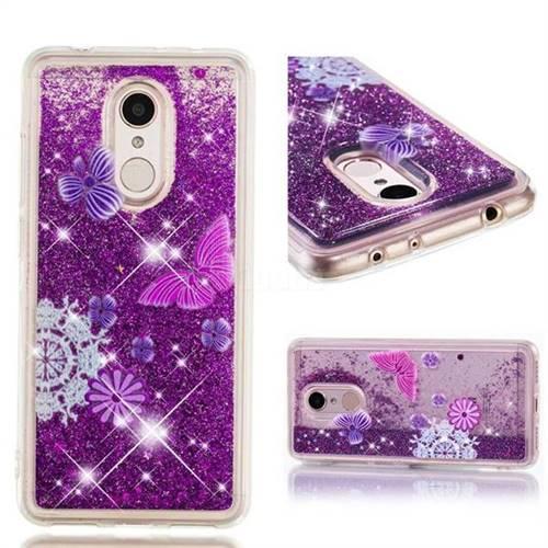 Dynamic Liquid Glitter Quicksand Soft TPU Case for Mi Xiaomi Redmi 5 - Purple Flower Butterfly
