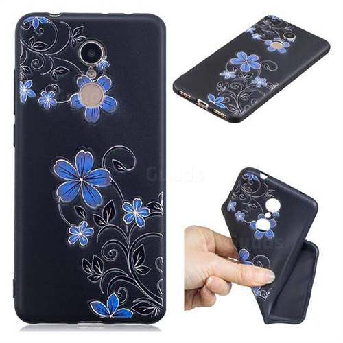 Little Blue Flowers 3D Embossed Relief Black TPU Cell Phone Back Cover for Mi Xiaomi Redmi 5