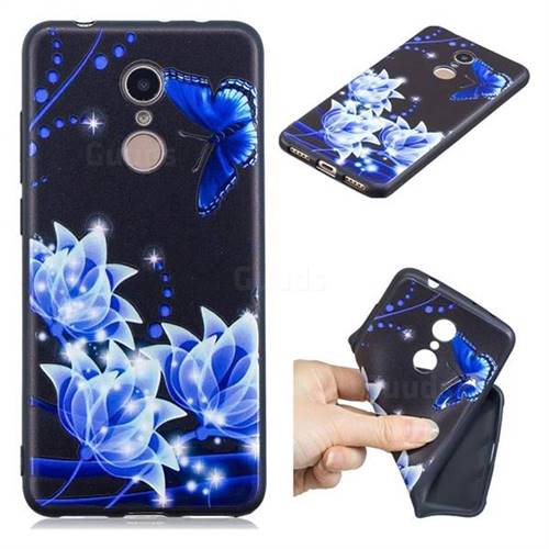 Blue Butterfly 3D Embossed Relief Black TPU Cell Phone Back Cover for Mi Xiaomi Redmi 5