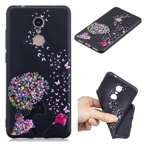 Corolla Girl 3D Embossed Relief Black TPU Cell Phone Back Cover for Mi Xiaomi Redmi 5