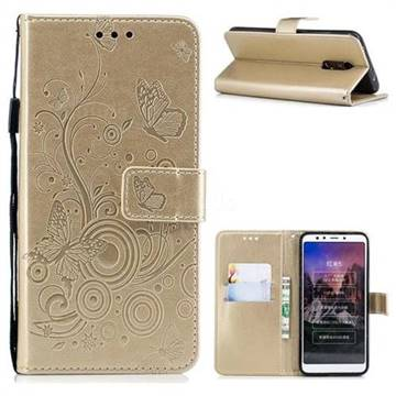 Intricate Embossing Butterfly Circle Leather Wallet Case for Mi Xiaomi Redmi 5 - Champagne