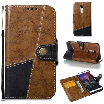 Retro Magnetic Stitching Wallet Flip Cover for Mi Xiaomi Redmi 5 - Brown