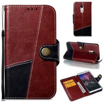 Retro Magnetic Stitching Wallet Flip Cover for Mi Xiaomi Redmi 5 - Dark Red
