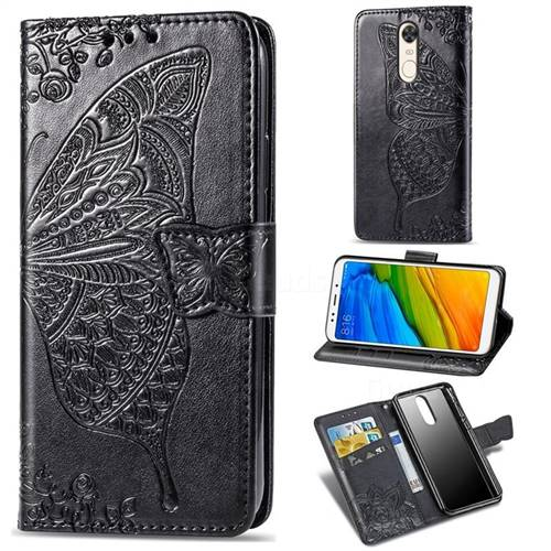 Embossing Mandala Flower Butterfly Leather Wallet Case for Mi Xiaomi Redmi 5 - Black