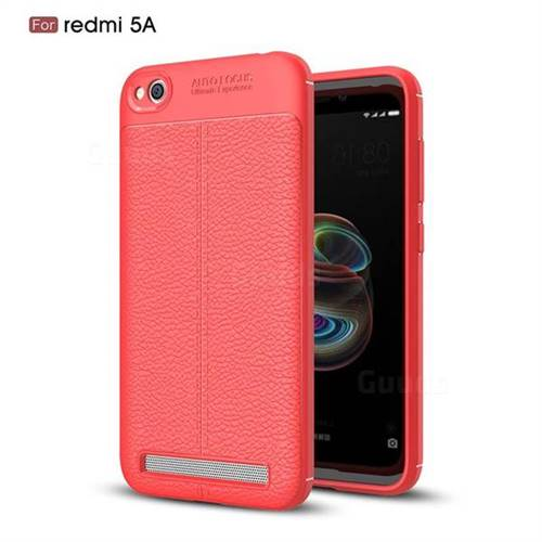 Luxury Auto Focus Litchi Texture Silicone TPU Back Cover for Xiaomi Redmi 5A - Red