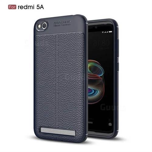 Luxury Auto Focus Litchi Texture Silicone TPU Back Cover for Xiaomi Redmi 5A - Dark Blue