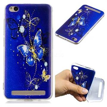 low priced 86418 5af5b Gold and Blue Butterfly Super Clear Soft TPU Back Cover for Xiaomi Redmi 5A