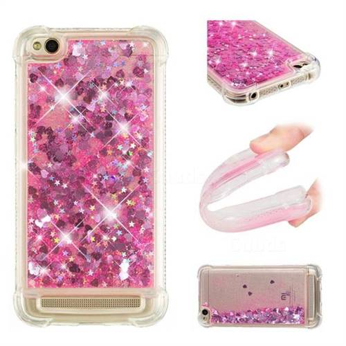 Dynamic Liquid Glitter Sand Quicksand TPU Case for Xiaomi Redmi 5A - Pink Love Heart