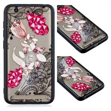 Tulip Lace Diamond Flower Soft TPU Back Cover for Xiaomi Redmi 5A
