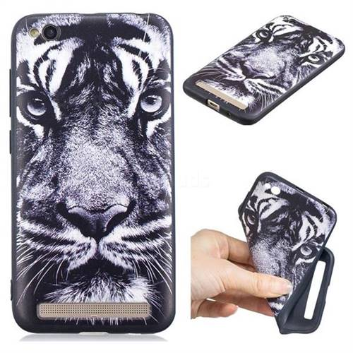 White Tiger 3D Embossed Relief Black TPU Cell Phone Back Cover for Xiaomi Redmi 5A