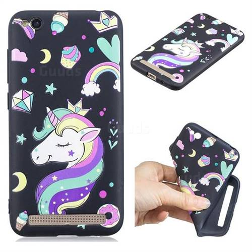 Candy Unicorn 3D Embossed Relief Black TPU Cell Phone Back Cover for Xiaomi Redmi 5A