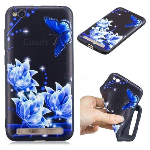 Blue Butterfly 3D Embossed Relief Black TPU Cell Phone Back Cover for Xiaomi Redmi 5A