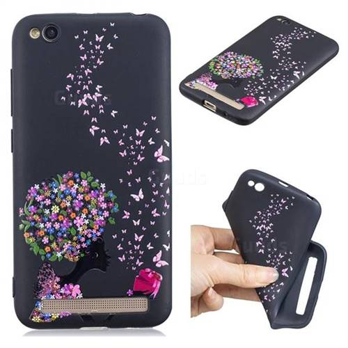 Corolla Girl 3D Embossed Relief Black TPU Cell Phone Back Cover for Xiaomi Redmi 5A