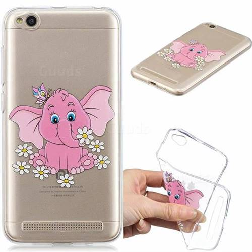 Tiny Pink Elephant Clear Varnish Soft Phone Back Cover for Xiaomi Redmi 5A