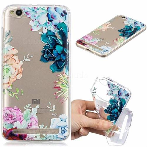 Gem Flower Clear Varnish Soft Phone Back Cover for Xiaomi Redmi 5A