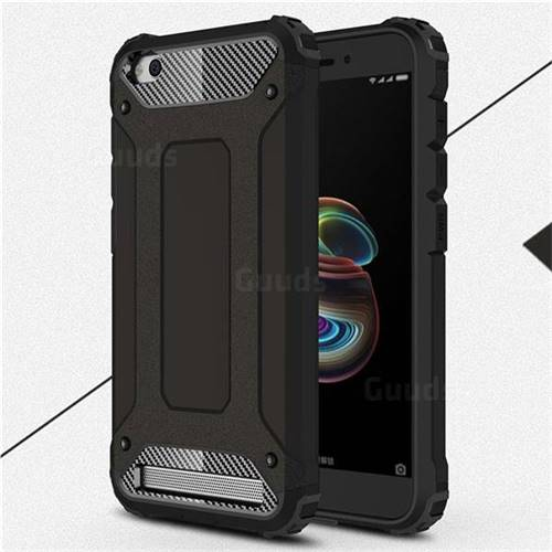 King Kong Armor Premium Shockproof Dual Layer Rugged Hard Cover for Xiaomi Redmi 5A - Black Gold