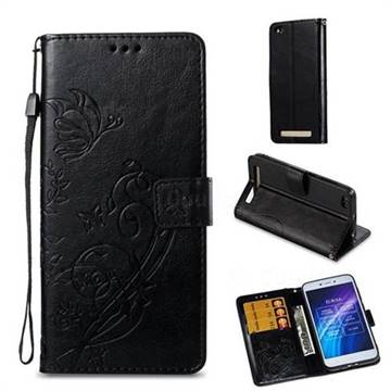 Embossing Butterfly Flower Leather Wallet Case for Xiaomi Redmi 5A - Black