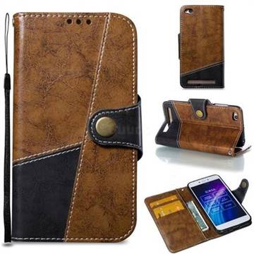 Retro Magnetic Stitching Wallet Flip Cover for Xiaomi Redmi 5A - Brown