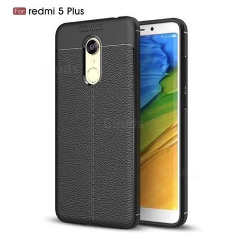 Luxury Auto Focus Litchi Texture Silicone TPU Back Cover for Mi Xiaomi Redmi 5 Plus - Black