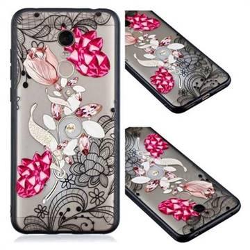 Tulip Lace Diamond Flower Soft TPU Back Cover for Mi Xiaomi Redmi 5 Plus