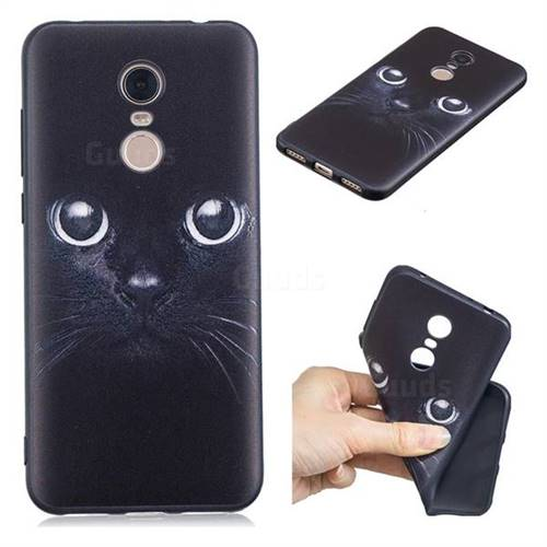 Bearded Feline 3D Embossed Relief Black TPU Cell Phone Back Cover for Mi Xiaomi Redmi 5 Plus