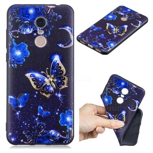 Phnom Penh Butterfly 3D Embossed Relief Black TPU Cell Phone Back Cover for Mi Xiaomi Redmi 5 Plus