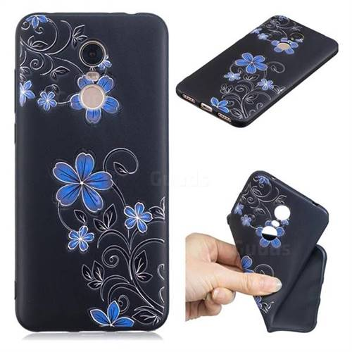 Little Blue Flowers 3D Embossed Relief Black TPU Cell Phone Back Cover for Mi Xiaomi Redmi 5 Plus