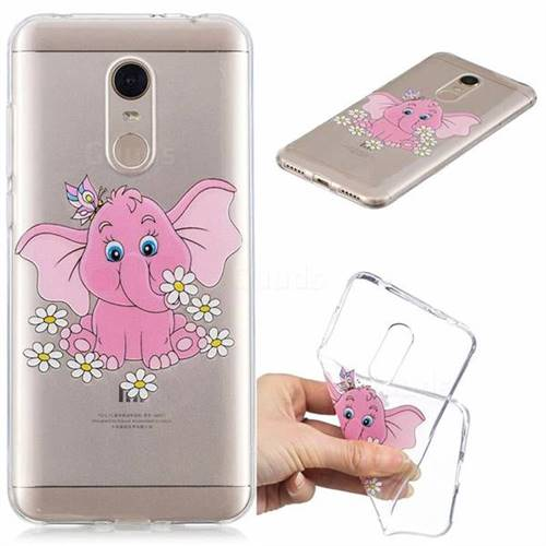 Tiny Pink Elephant Clear Varnish Soft Phone Back Cover for Mi Xiaomi Redmi 5 Plus