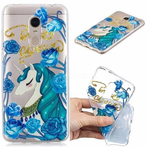 Blue Flower Unicorn Clear Varnish Soft Phone Back Cover for Mi Xiaomi Redmi 5 Plus