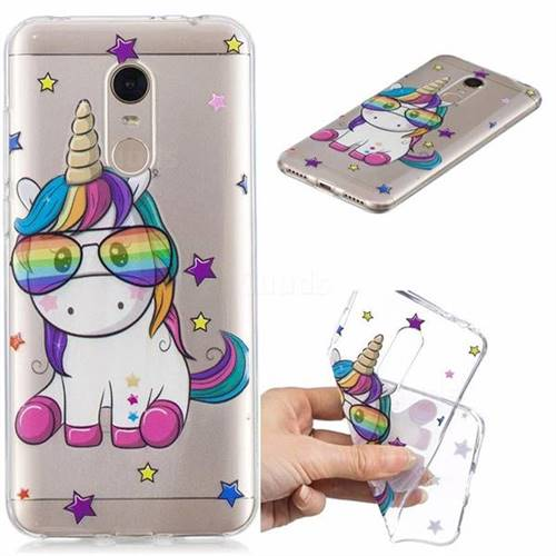 Glasses Unicorn Clear Varnish Soft Phone Back Cover for Mi Xiaomi Redmi 5 Plus