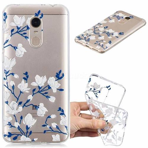 Magnolia Flower Clear Varnish Soft Phone Back Cover for Mi Xiaomi Redmi 5 Plus