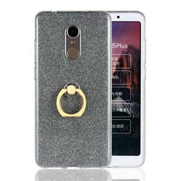 Luxury Soft TPU Glitter Back Ring Cover with 360 Rotate Finger Holder Buckle for Mi Xiaomi Redmi 5 Plus - Black