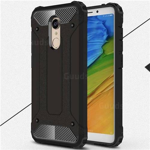 King Kong Armor Premium Shockproof Dual Layer Rugged Hard Cover for Mi Xiaomi Redmi 5 Plus - Black Gold