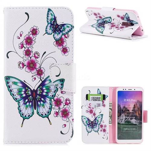 Peach Butterfly Leather Wallet Case for Mi Xiaomi Redmi 5 Plus
