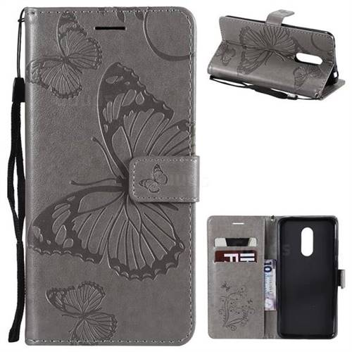 Embossing 3D Butterfly Leather Wallet Case for Mi Xiaomi Redmi 5 Plus - Gray