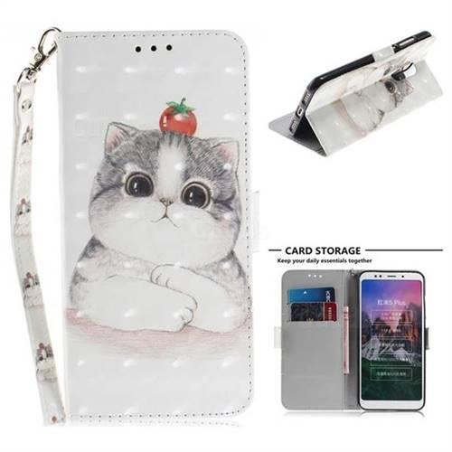Cute Tomato Cat 3D Painted Leather Wallet Phone Case for Mi Xiaomi Redmi 5 Plus