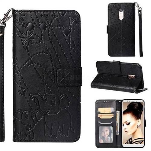 Embossing Fireworks Elephant Leather Wallet Case for Mi Xiaomi Redmi 5 Plus - Black