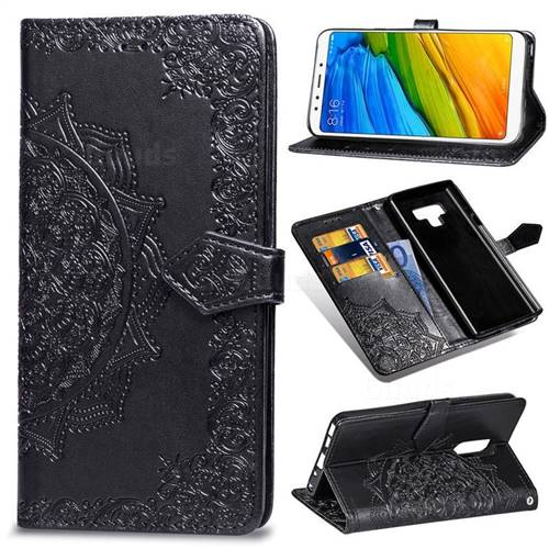 Embossing Imprint Mandala Flower Leather Wallet Case for Mi Xiaomi Redmi 5 Plus - Black