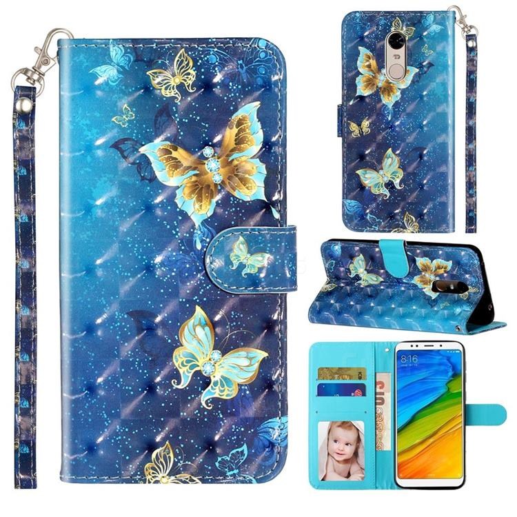 Rankine Butterfly 3D Leather Phone Holster Wallet Case for Mi Xiaomi Redmi 5 Plus