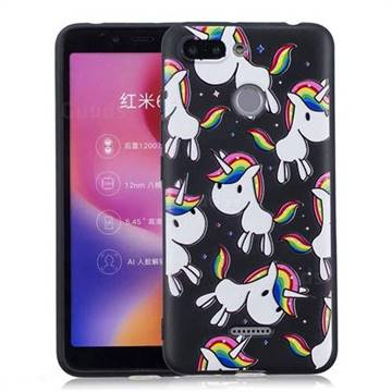 Rainbow Unicorn 3D Embossed Relief Black Soft Back Cover for Mi Xiaomi Redmi 6