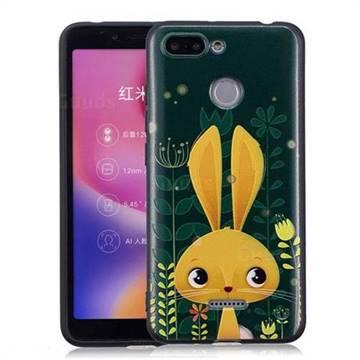 Cute Rabbit 3D Embossed Relief Black Soft Back Cover for Mi Xiaomi Redmi 6