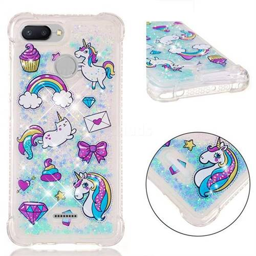 Fashion Unicorn Dynamic Liquid Glitter Sand Quicksand Star TPU Case for Mi Xiaomi Redmi 6