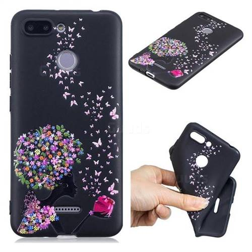 Corolla Girl 3D Embossed Relief Black TPU Cell Phone Back Cover for Mi Xiaomi Redmi 6