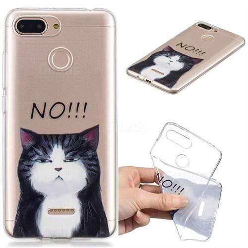 No Cat Clear Varnish Soft Phone Back Cover for Mi Xiaomi Redmi 6