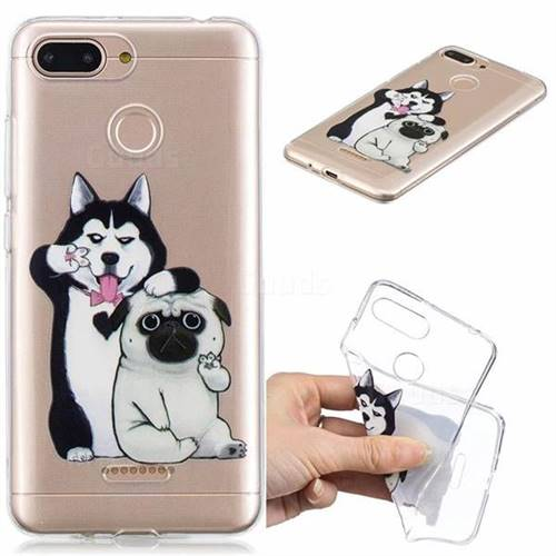 Selfie Dog Clear Varnish Soft Phone Back Cover for Mi Xiaomi Redmi 6