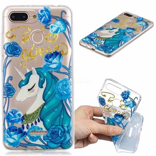 Blue Flower Unicorn Clear Varnish Soft Phone Back Cover for Mi Xiaomi Redmi 6