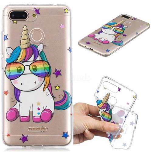 Glasses Unicorn Clear Varnish Soft Phone Back Cover for Mi Xiaomi Redmi 6
