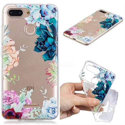 Gem Flower Clear Varnish Soft Phone Back Cover for Mi Xiaomi Redmi 6