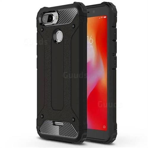 King Kong Armor Premium Shockproof Dual Layer Rugged Hard Cover for Mi Xiaomi Redmi 6 - Black Gold