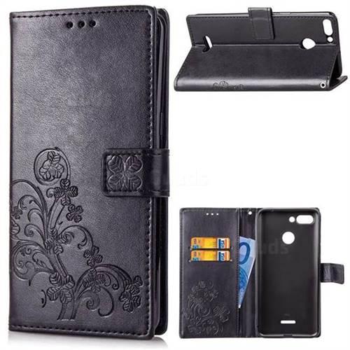 Embossing Imprint Four-Leaf Clover Leather Wallet Case for Mi Xiaomi Redmi 6 - Black